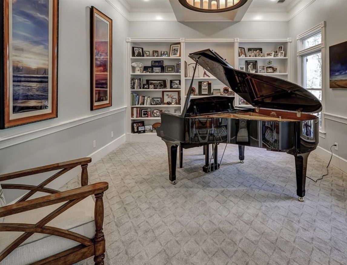 Millwright Drive Windmill Harbour home showing music room with grand piano